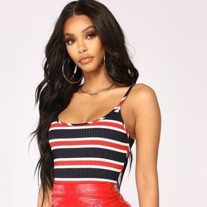 NWT Fashion nova striped bodysuit ❤️🌼